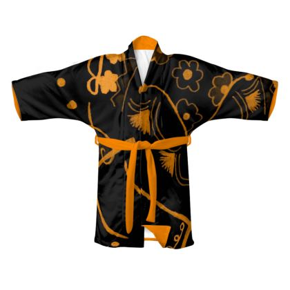 Orange & Black Night time Kimono