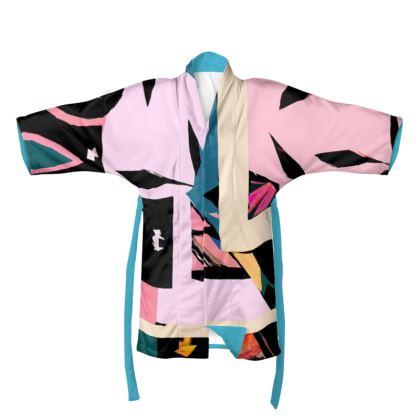 Abstract Pink & Blue Kimono