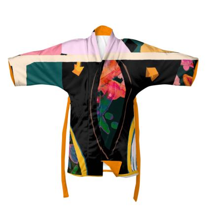 Abstract colourful block print Kimono