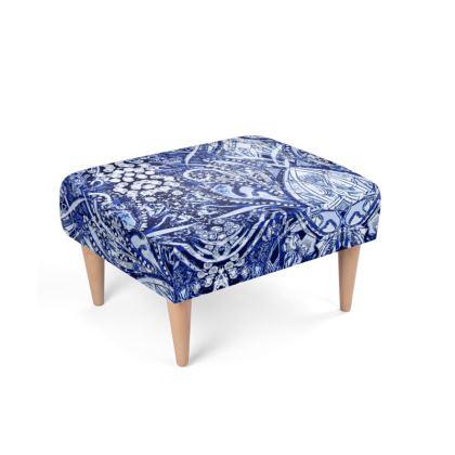 Blue Nouveau Footstool