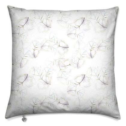 Falling feather white cushion cover