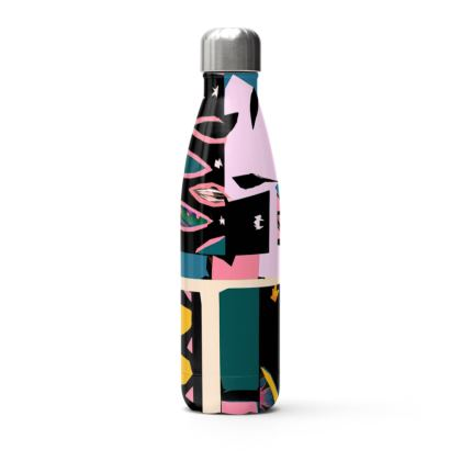 Abstract Print Stainless Steel Thermal Water Bottle