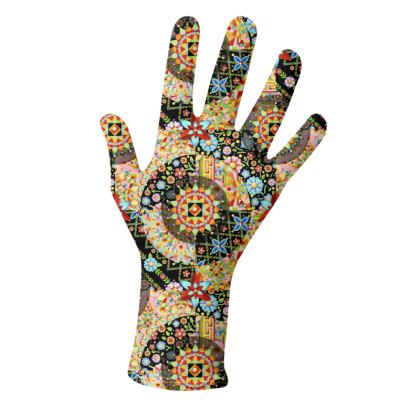 Bonkers Faux Patchwork  Gloves 2 pack