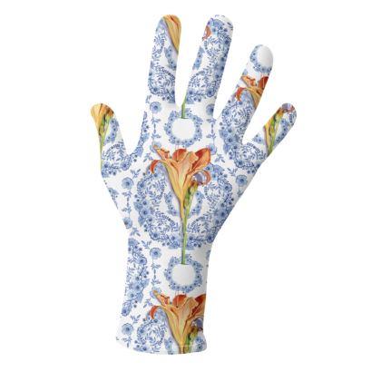 Orange Daylily Blue Rhapsody Gloves 2 pack