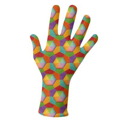 Rainbow Hexagon Geometric Gloves 2 pack