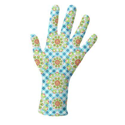 Blue Gingham Mandala Gloves 2 pack