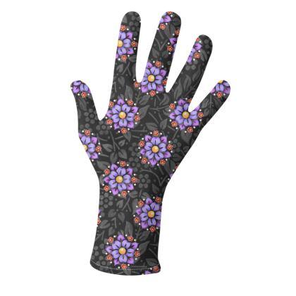 Pretty Violet Floral Gloves 2 pack