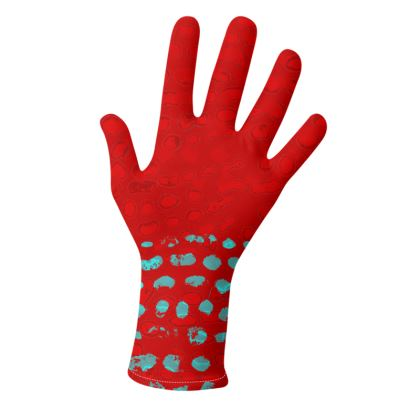 Textural Collection in red and turquoise Gloves
