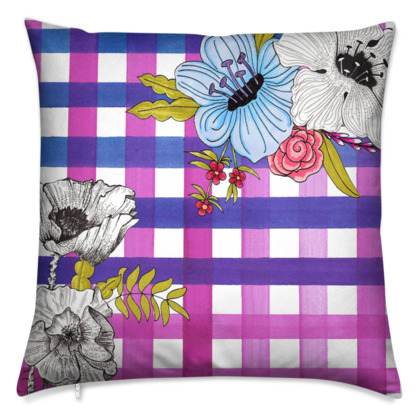 Pink and Purple Gingham Floral Cushion