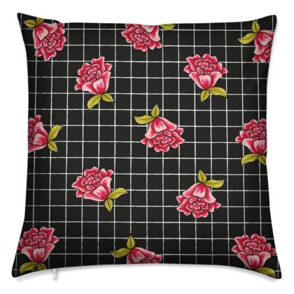 Black Check and Rose Cushion