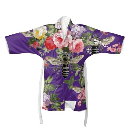 Purple Flora and Bees Kimono