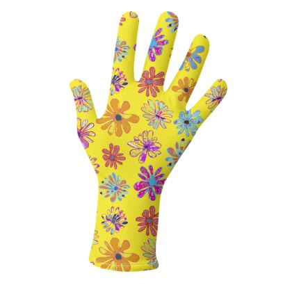 Rainbow Daisies Collection on yellow Gloves