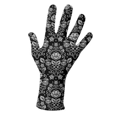 Monotone Black and White Damask Gloves 2 pack