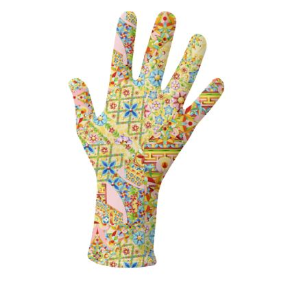 Pretty Yellow Patchwork Gloves 2 pack