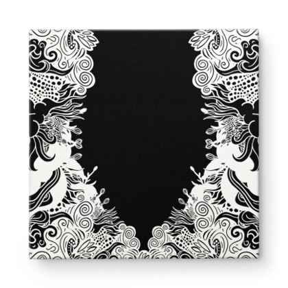Dark Floral Square Canvas