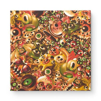 Monster World Warm Square Canvas