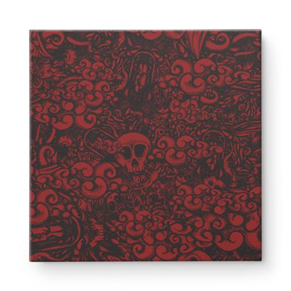 Doodles red Square Canvas