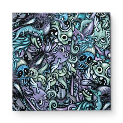 Doodles Blue Square Canvas