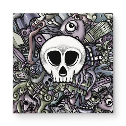 Doodles Skull White Square Canvas