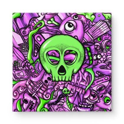 Doodles Skull green Square Canvas