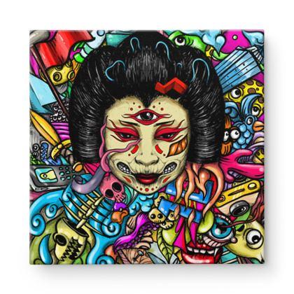 Geisha Doodles Square Canvas