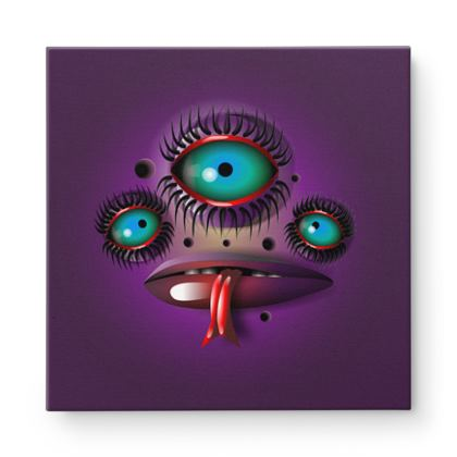 Purple Monster Square Canvas