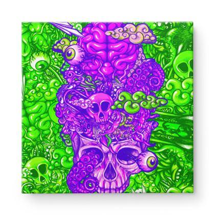 Doodles Skull Square Canvas