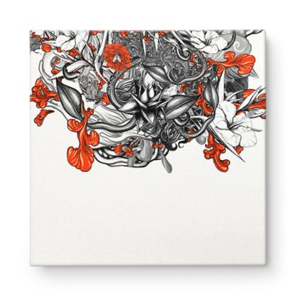 Floral White Square Canvas