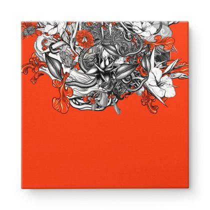 Floral orange Square Canvas