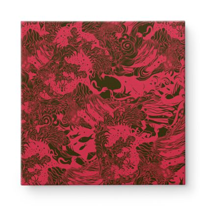 Red Wave Square Canvas