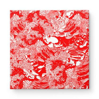 Red Wave 2 Square Canvas