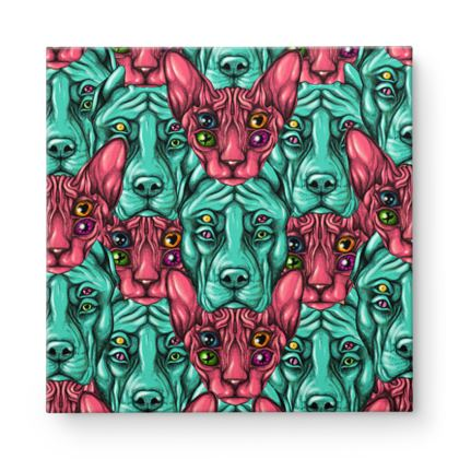 Dogs and Cats Square Canvas