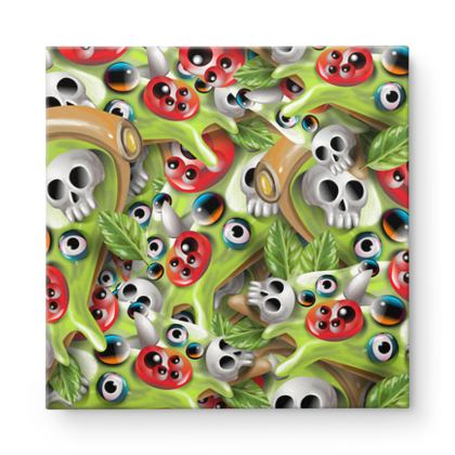 Pizza Monster Square Canvas