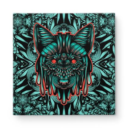 Floral Wolf Square Canvas