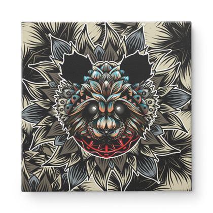 Floral Panda Square Canvas