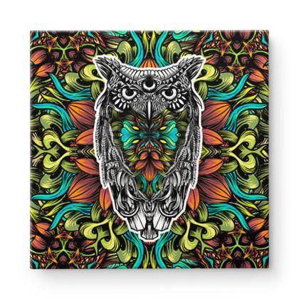 Floral Owl Square Canvas