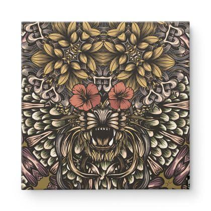 Floral Tiger Square Canvas