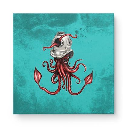 Squid and Helmet Square Canvas