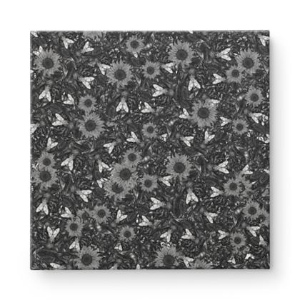 Flowers and Flys wave Square Canvas