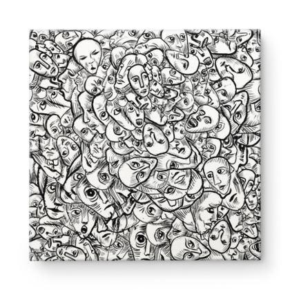 Faces Square Canvas