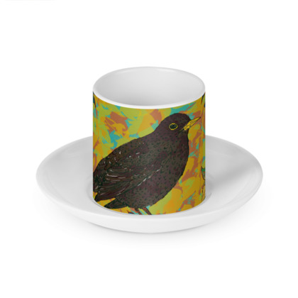 Blackbird and Ivy Cup and Saucer