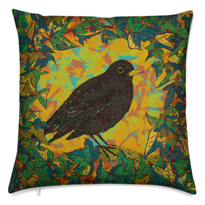 Blackbird and Ivy Cushion