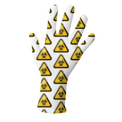 Hazard Symbol Gloves: Biohazard and Toxic Signs