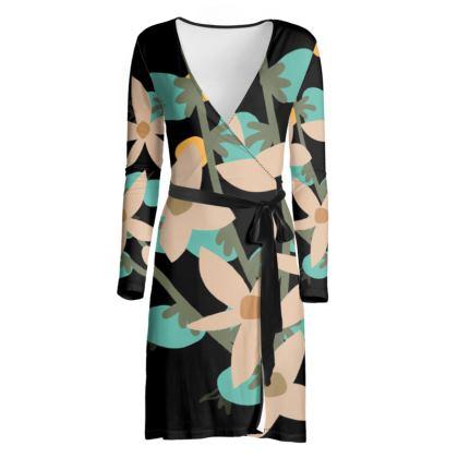 Black Floral Designer Wrap Dress