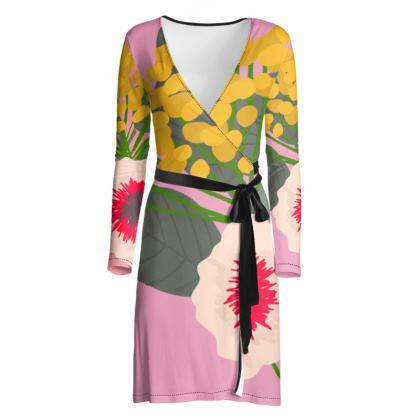 PINK FLORAL DESIGNER WRAP DRESS