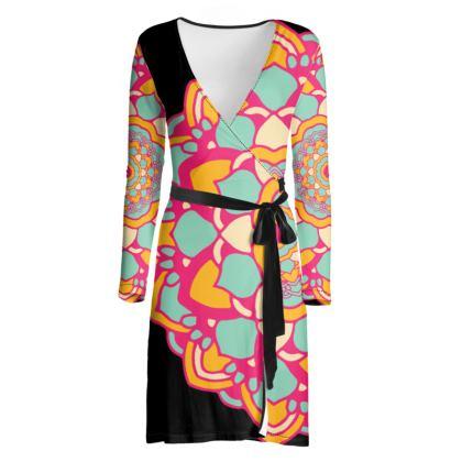Mandala Print Black Wrap Dress