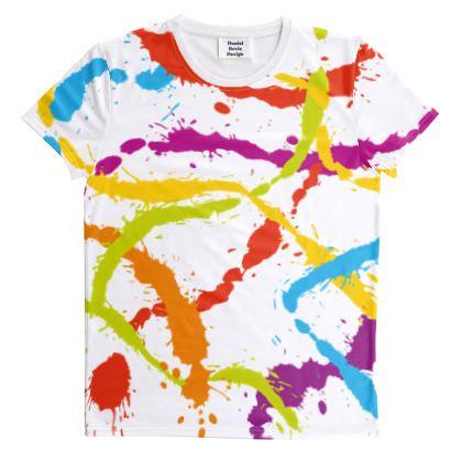 Splattered Rainbow [WHITE] All Over Graphic Tee