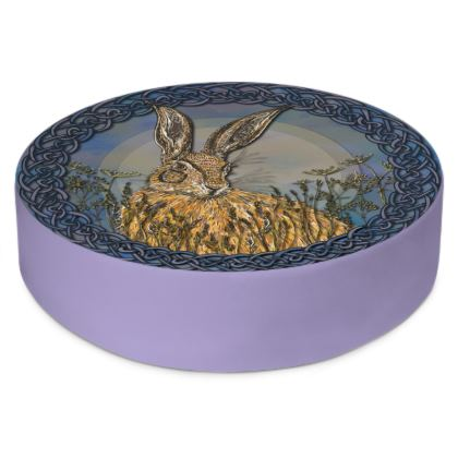 Celtic Hare Round Floor Cushion