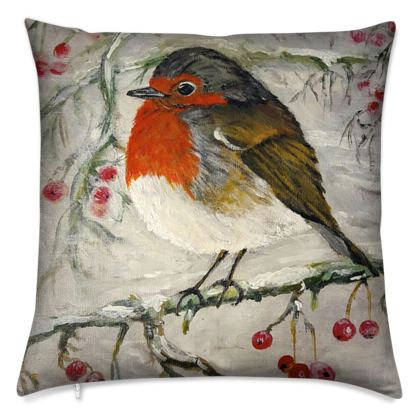 Christmas Robin Cushion by Alison Gargett