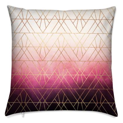 Pink Ombre Triangles Cushion